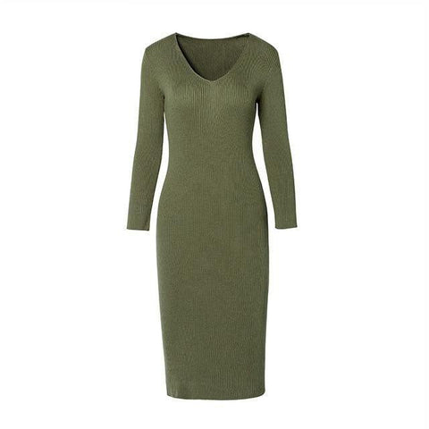 Long sweater dress outfit - Les Value