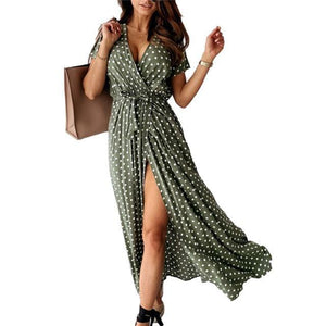 Women Long Maxi Dress | Dot Print Beach Maxi - Les Value