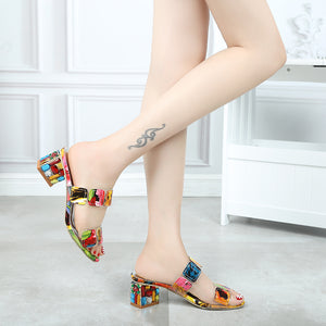 Multi Colors High Heel Sandal