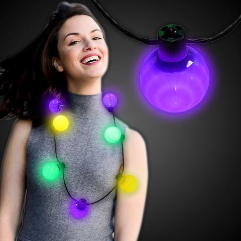 large glowing mardi gras necklace
