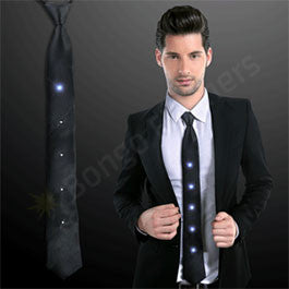"19"" SILKY BLACK NECKTIE WITH WHITE LEDS"