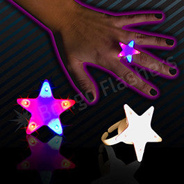 Red and Blue Star LED Rings - 12 Pack