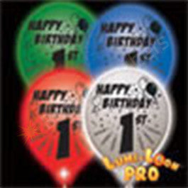 1st Birthday Balloons w/ LEDs - 10 Pack