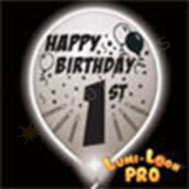 1st Birthday Balloons w/ White LED - 10 Pack