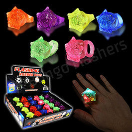 Star Shaped LED Jelly Rings - 24 Pack