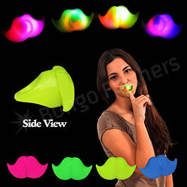 Assorted Color LED Mustache Jelly Rings