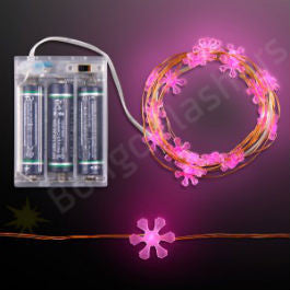 "76"" PINK LED FLOWER STRING LIGHTS, BATTERY OPERATED"
