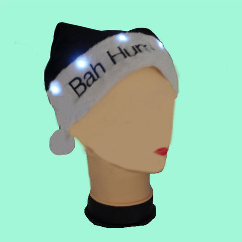 BAH HUMBUG FLASHING SOFT SANTA HAT (1 DOZEN)