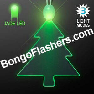 Acrylic LED Green Tree Christmas Necklace