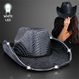 BLACK SEQUIN COWBOY HAT WITH WHITE LED BRIM
