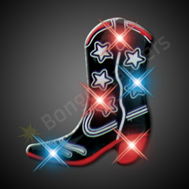 BLACK COWBOY BOOT LED PIN BLINKIES