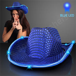BLUE SEQUIN COWBOY HAT WITH BLUE LED BRIM