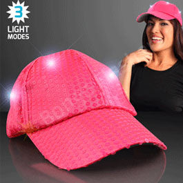 BRIGHT PINK SEQUIN LED BASEBALL CAP