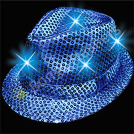 Blue Sequin LED Fedora