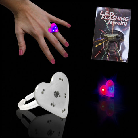 Blue & Red LED Heart Ring