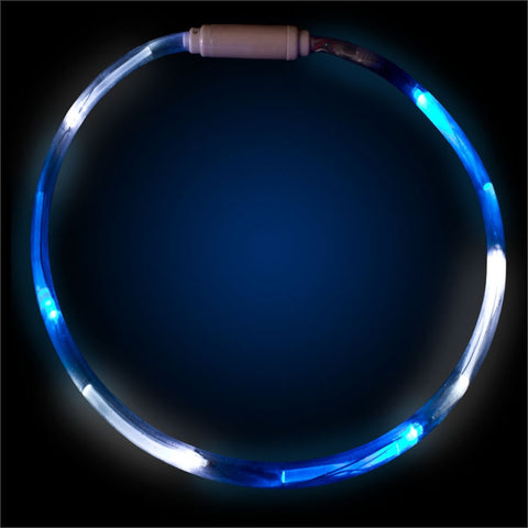 "Blue & White 27"" LED Fiber Optic Necklace"