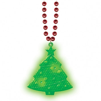 Light Up Christmas Necklace.Light Up Christmas Plastic Tree Bead Necklace