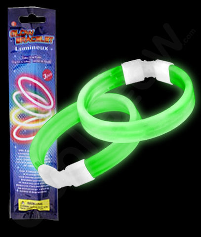 Glow Retail Packaged Triple Wide Bracelet - Green