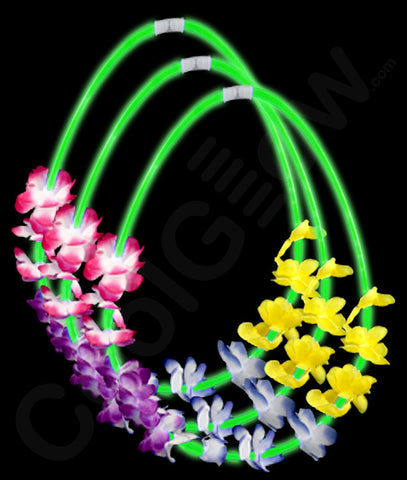 22 Inch Flower Lei Glow Necklaces - Green (12/Pack)