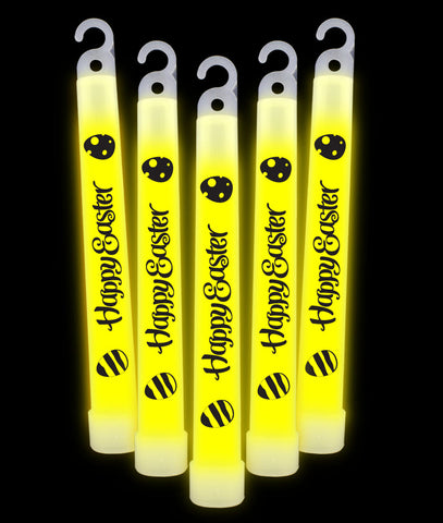 6 Inch Premium Happy Easter Glow Sticks - Yellow (25/pack)