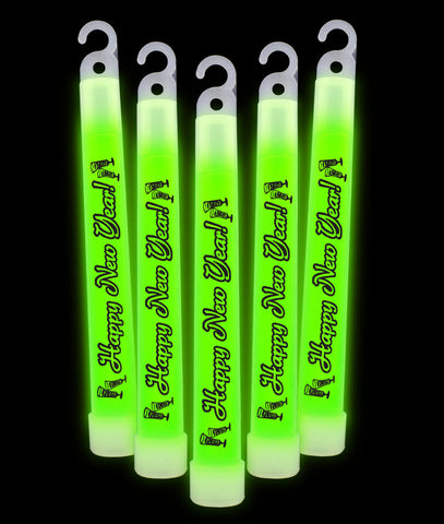 6 Inch Premium Happy New Year Glow Sticks - Green