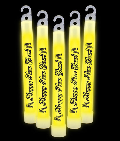 6 Inch Premium Happy New Year Glow Sticks - Yellow