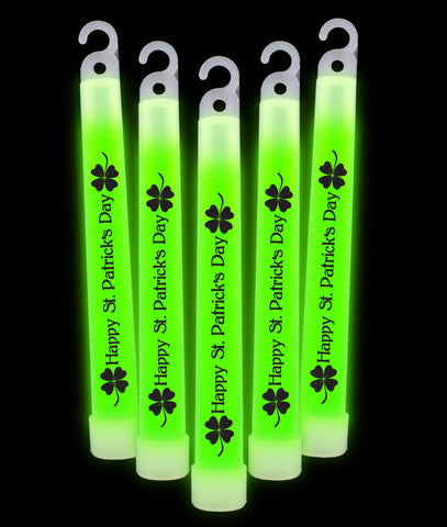 6 Inch Premium St. Patrick's Day Glow Sticks- Green