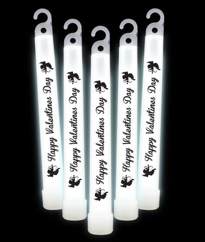 6 Inch Premium Happy Valentines Day Glow Sticks- White