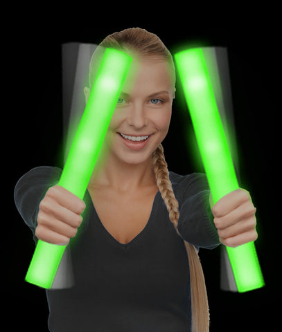 LED Foam Stick Baton Supreme - Green (12/pack)