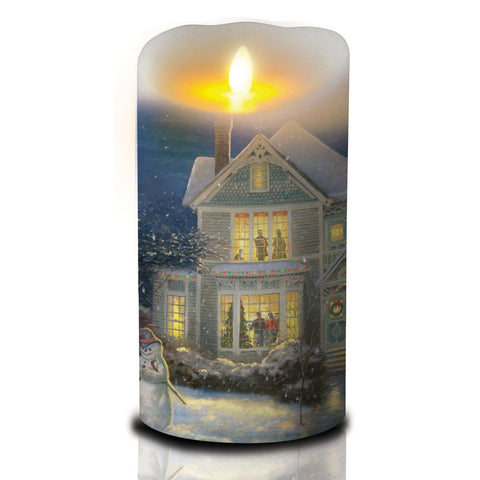 7 Inch Thomas Kinkade Luminara Candle - Holiday Cheer
