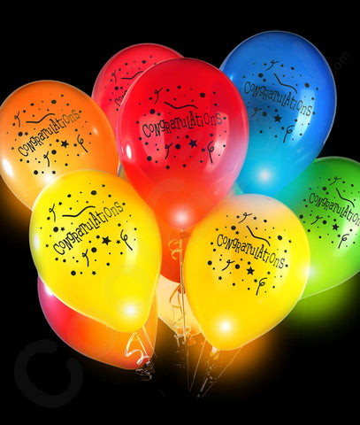 LED 14 Inch Blinky Balloons Congratulations - Assorted
