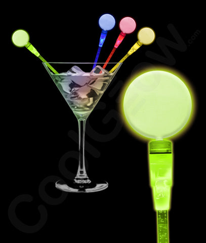 LED Circle Cocktail Stirrers - Assorted (12/Pack)