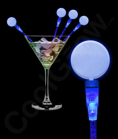 LED Circle Cocktail Stirrers - Blue (12/Pack)