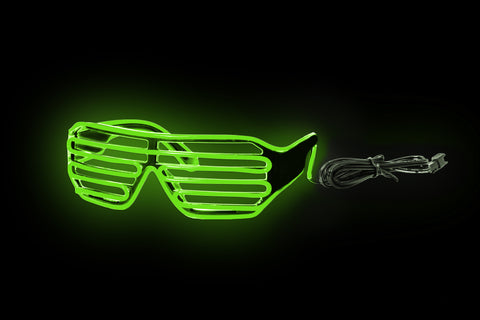 Sound Activated EL Slotted Shades Black Frame - Green