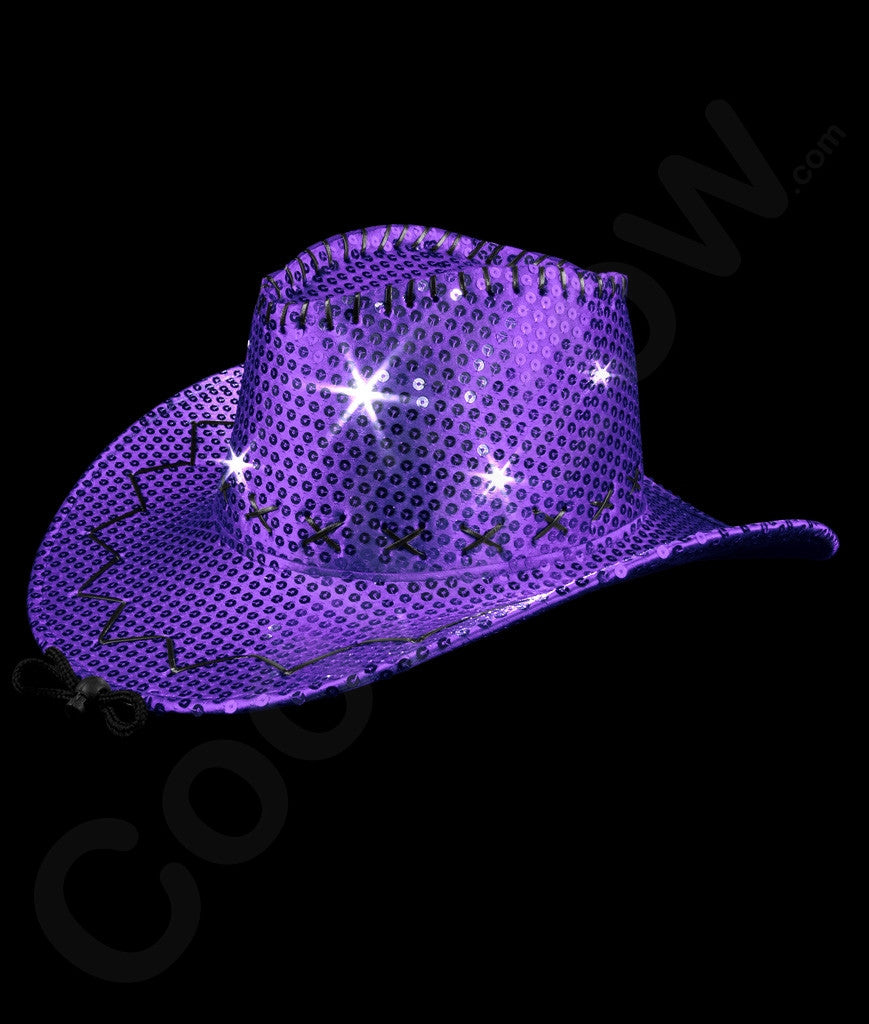 17ccfd8d5ab LED Sequin Cowboy Hat with Stitching - Purple – Bongo Flashers