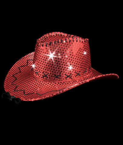 LED Sequin Cowboy Hat with Stitching - Red a57874bc261f