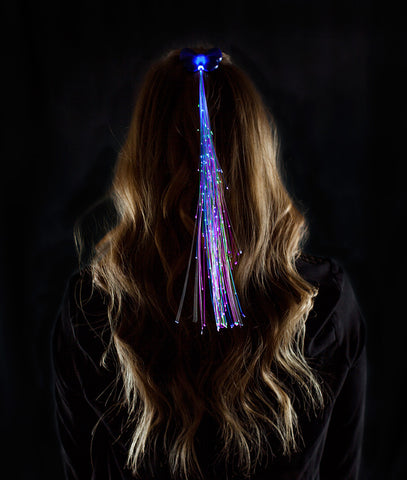 LED Fiber Optic Hair Clips - Blue (6 clips)