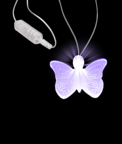 LED Butterfly Pendant Necklace - Purple