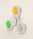 LED Fidget Spinner - White with Green, Yellow and White Buttons