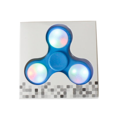 LED Push Button Fidget Spinner with 9 LEDs - Blue