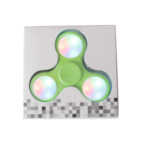 LED Push Button Fidget Spinner with 9 LEDs - Green