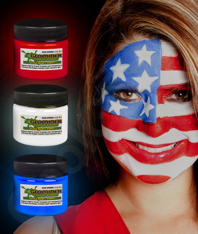 Glominex Glow Body Paint 1oz Jars- Red White Blue 3ct