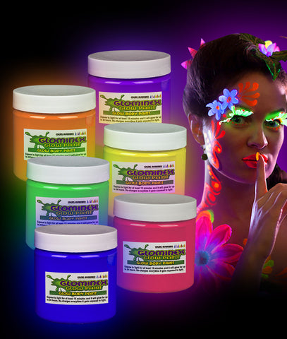 Glominex Glow Body Paint 4oz Jars - Assorted 6ct