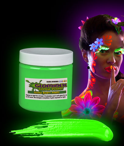 Glominex Glow Body Paint 4oz Jar - Green
