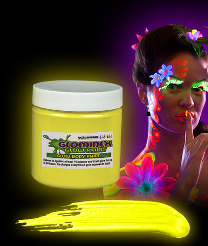 Glominex Glow Body Paint 4oz Jar - Yellow