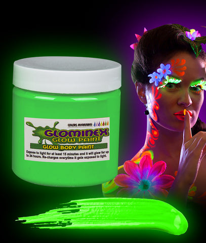 Glominex Glow Body Paint 8oz Jar - Green
