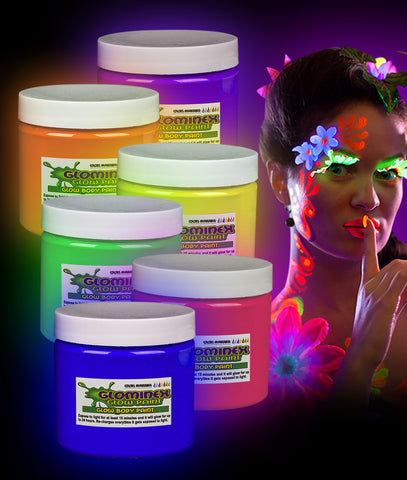 Glominex Glow Body Paint 16oz Jars - Assorted 6ct