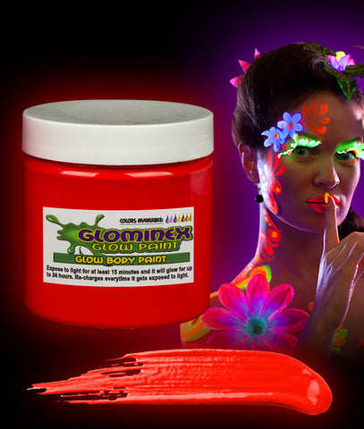 Glominex Glow Body Paint 16oz Jar - Red