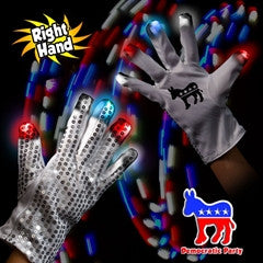 Democratic Party LED Sequin Gloves