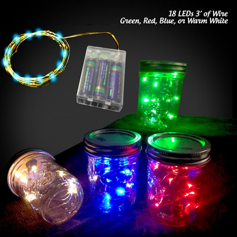 18 Colorful Fairy Lights, 3 Ft Wire, AA Box + Timer - RED